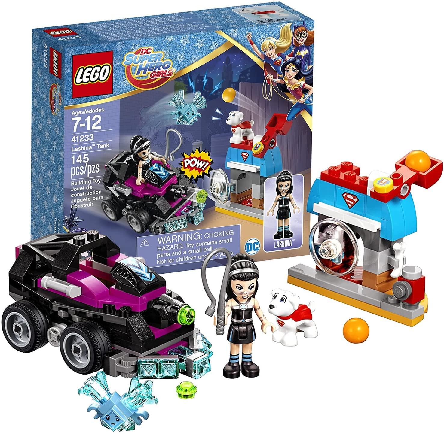 Lego Year 2017 DC Super Hero Girls Series Set #41233 - LASHINA TANK with Cage, Confused Kryptomite Plus Krypto and Lashina Minifigure (Pieces: 145)