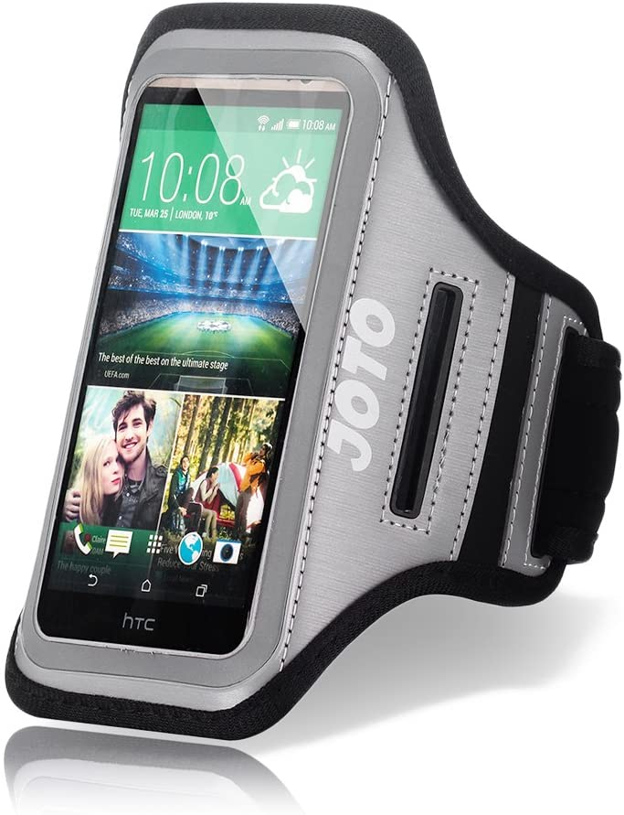 JOTO Running Armband for iPhone 8, 7, 6, 6s SE 2020, Galaxy S6, S7, HTCM9, Google Pixel, Pixel 2, Phone Sport Arm Case Cover Pouch with Key Holder for Gym Jogging Walking Workout and Exercise -Grey