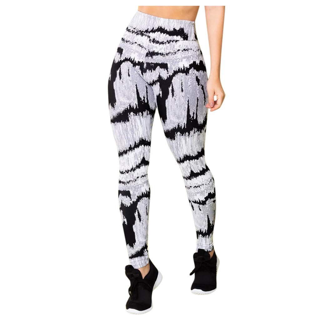 TADAMI Joggers Pants for Women,Yoga Athletic Pants,High Waist Sports Gym Running Fitness Sweatpants Camouflage Print Leggings Skinny Soft Stretch Skinny Pencil Tights Athletic Trouser (White, 2XL)