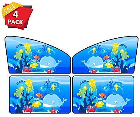 Car sun visor Cartoon Side Window Shade Cover UV Rays for Kids, Universal 4 Pack 0712 (Color : B)