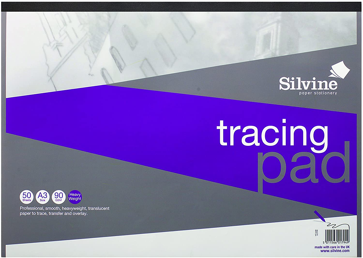 Silvine A3 Professional Tracing Pad. 50 Sheets of Quality Heavyweight Tracing Paper (90gsm) Ref A3TPR