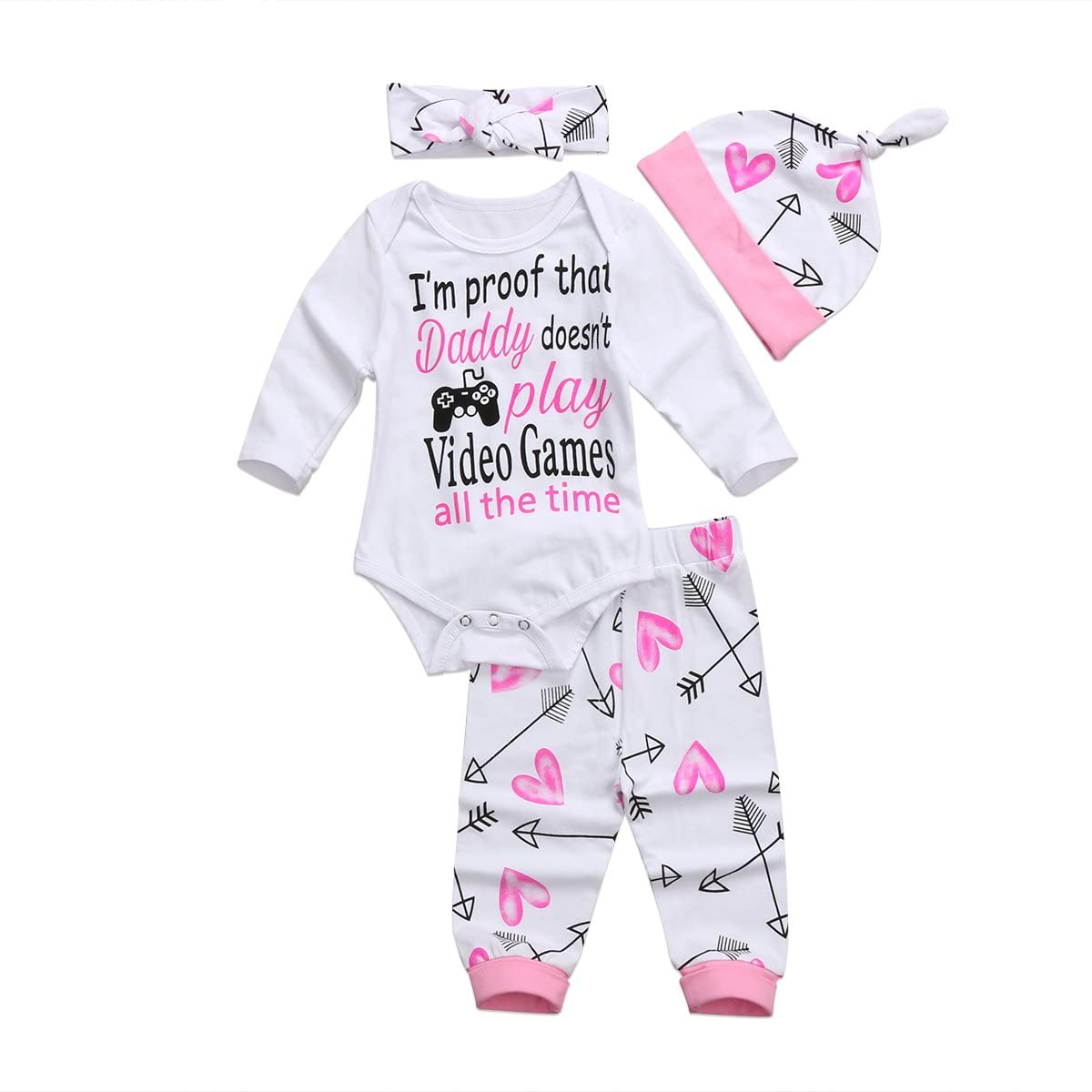 4PCS/Set Baby Girls Clothes Set Newborn Infant Toddler Princess Letter Romper Arrow Heart Pants Hats Headband