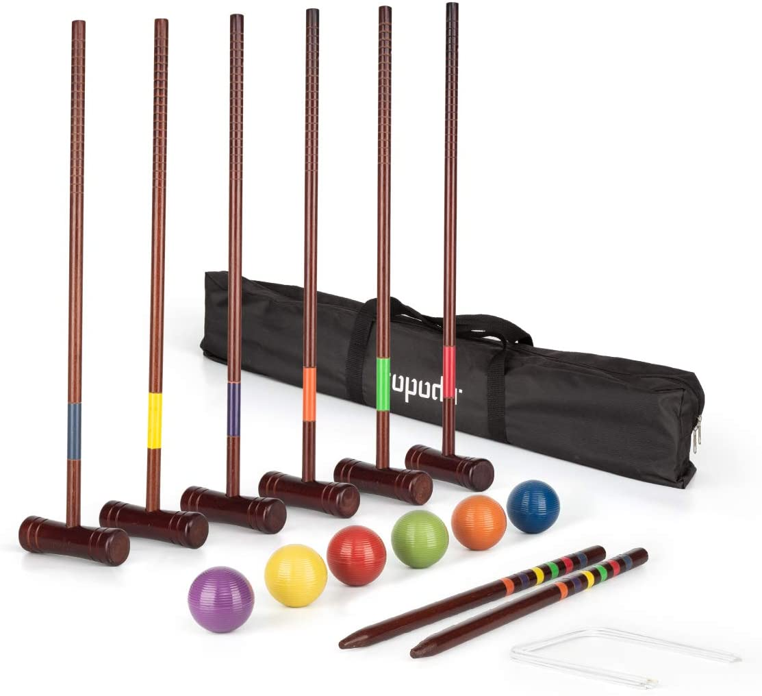 ROPODA Six-Player Deluxe Croquet Set with Wooden Mallets, Colored Balls, Vintage Style, Sturdy Carrying Bag for Adults &Kids, Perfect for Lawn, Backyard, Park and More