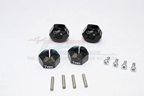 Traxxas Ford GT 4-Tec 2.0 (83056-4) Upgrade Parts Aluminum Hex Adapters 7mm Thick - 4Pc Set Black