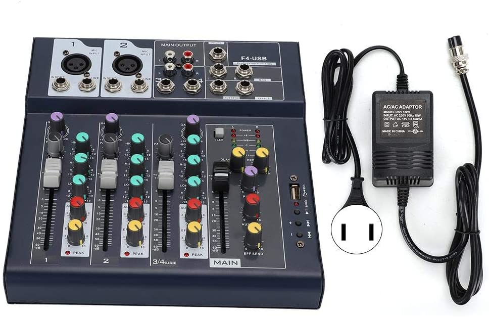 4 Channel Stage Mixer,F4-USB Stage Performance Karaoke Live 5-Segment LED Main Level Meter 4 Channel Stage Mixer(US-110V)