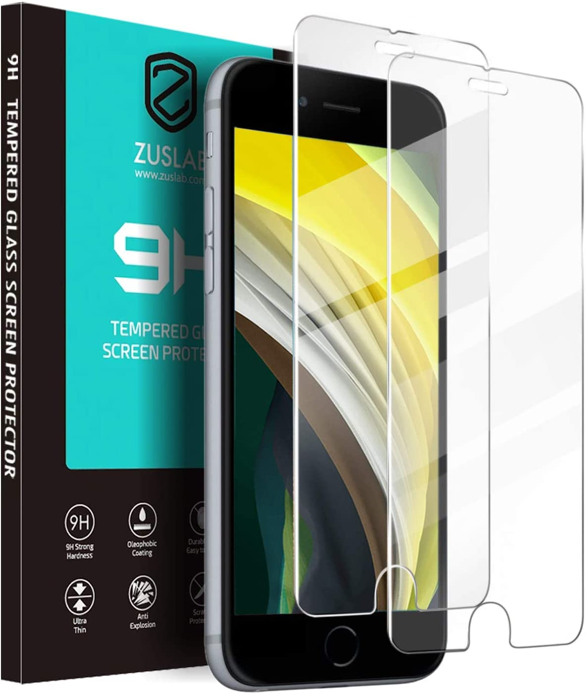 ZUSLAB for iPhone SE 2020 /iPhone 7/ iPhone 8 Screen Protector, Tempered Glass Screen Protector for iPhone 8/7, 2-Pack- Clear