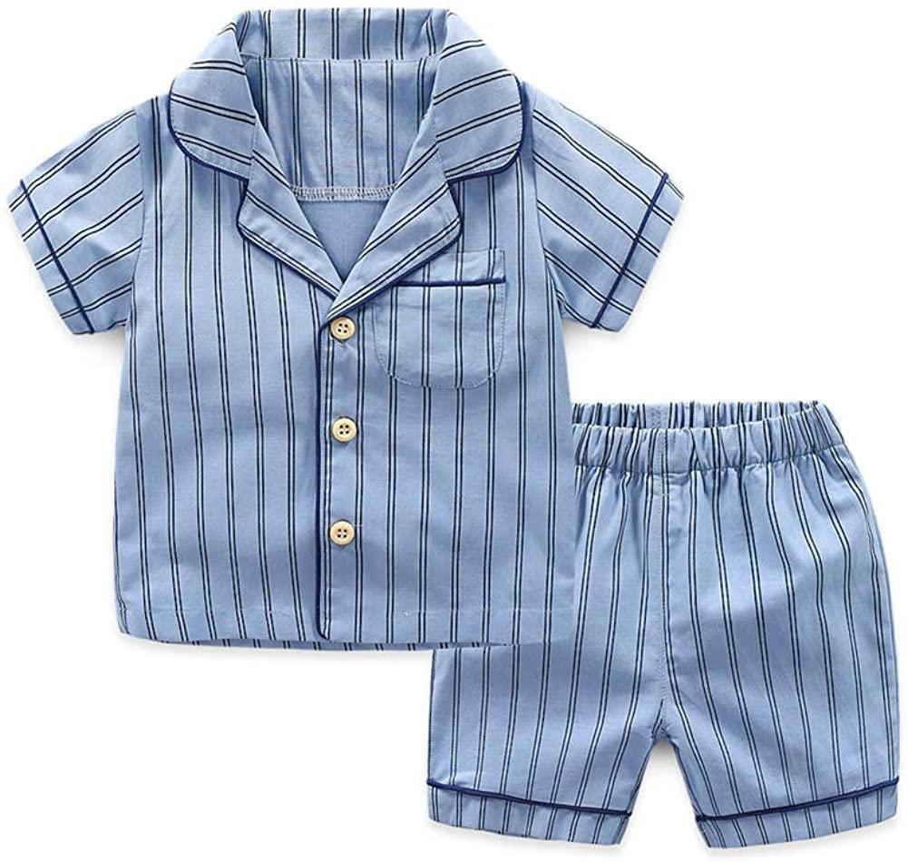 JunNeng Toddler Baby Cotton Stripe Pajamas Sets Sleepwear,Kids Boy Girl Cartoon Short Sleeve Shirt+Short Sets Summer Clothes