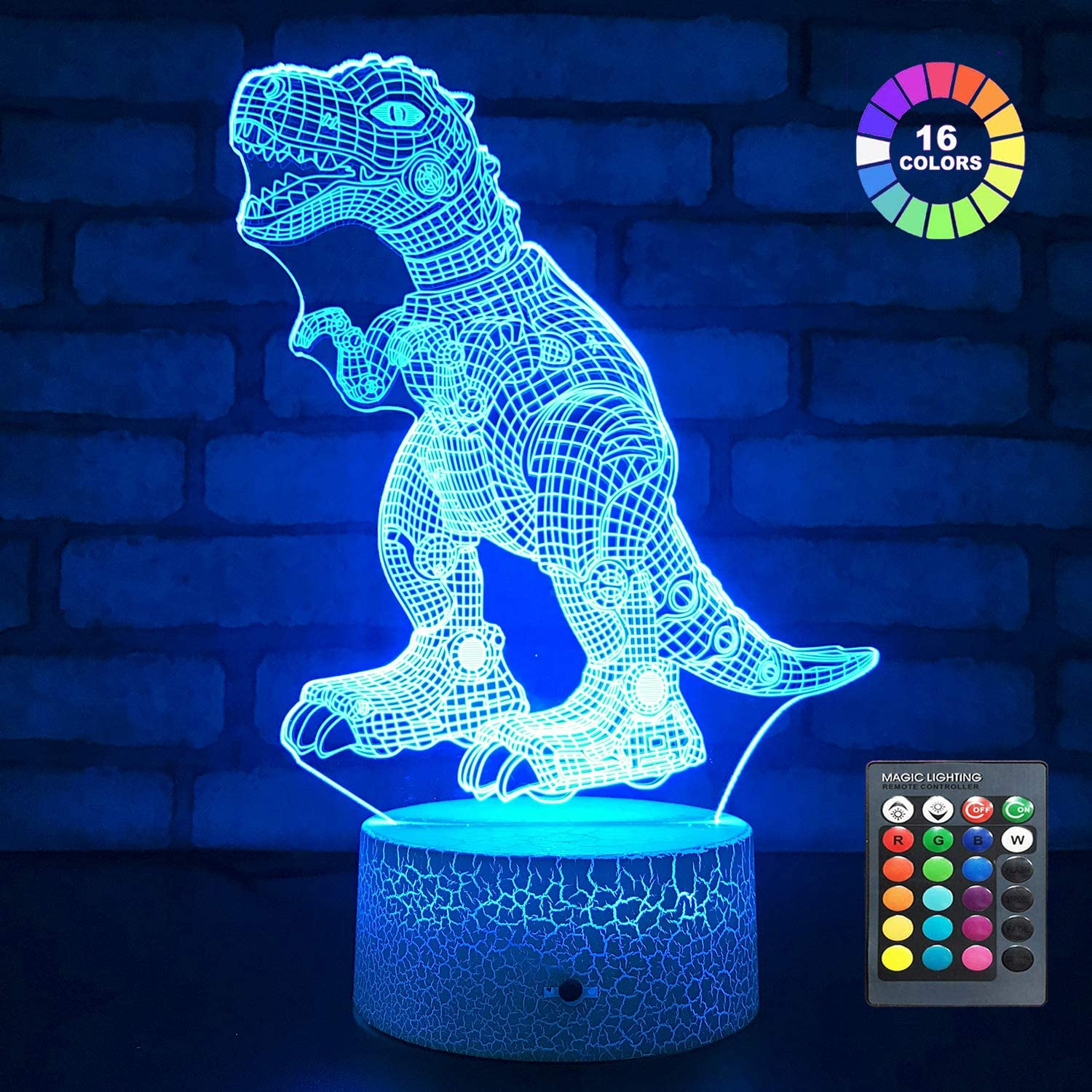 Dinosaur Toys T Rex Dinosaur Gifts Bedside Lamp 3D Night Light with Remote & Smart Touch 7 Colors + 16 Colors Changing Gifts for 1 2 3 4 5 6 7 8 9 10 Year Old Boys