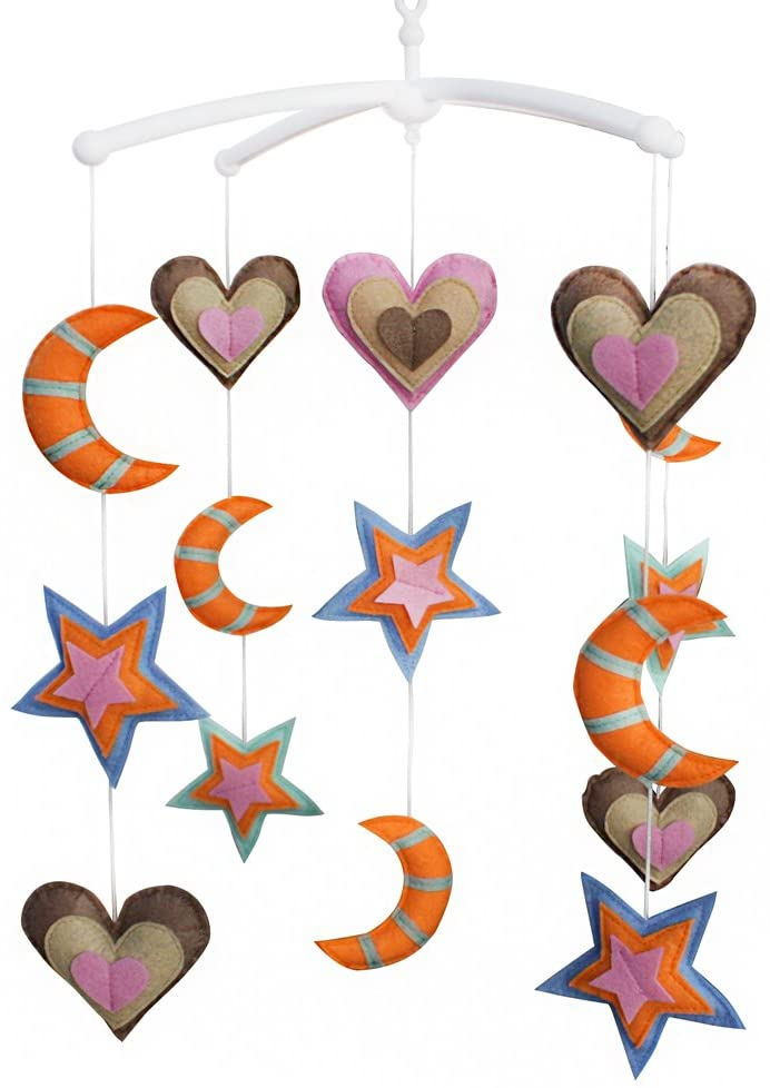 Handmade Stars Moon Hearts Baby Crib Mobile Nursery Room Decor Musical Mobile Crib Toy for Girls Boys