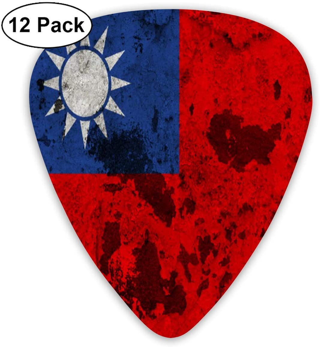 XKAWPC Vintage Taiwanese Flag Personalized Guitar Picks 12pcs,Unique Guitar Gift for Your Electric, Acoustic, Or Bass Guitar Includes 0.46, 0.71, 0.96mm