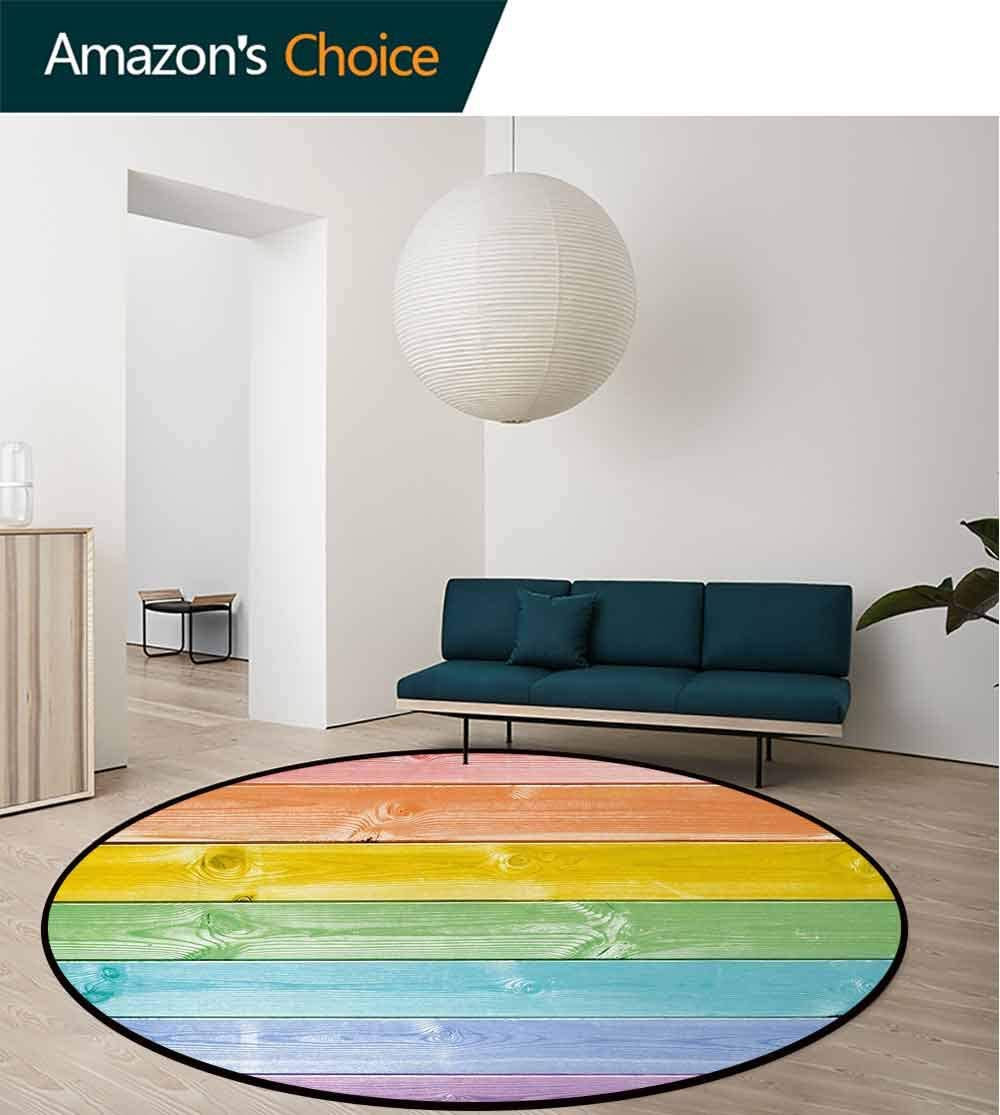 Pastel Round Area Rug,Wooden Planks in Rainbow Colors Rural Rustic Home Cottage Theme Summer Shades Print Living Dinning Room & Bedroom Rugs Round-31 Inch,Multicolor