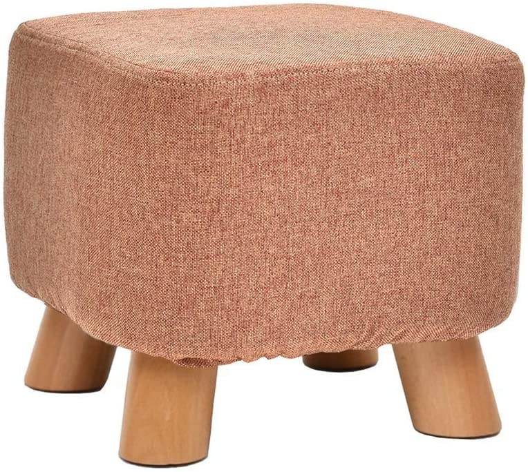 WME Household Chairs, Stools,Modern Ottoman Thick Square Solid Wood Pouffe Chair Footstool Stool, Detachable Thick Futon Linen 4 Wooden Legs, Multi-Function Household Living Room Rest Children's Stoo