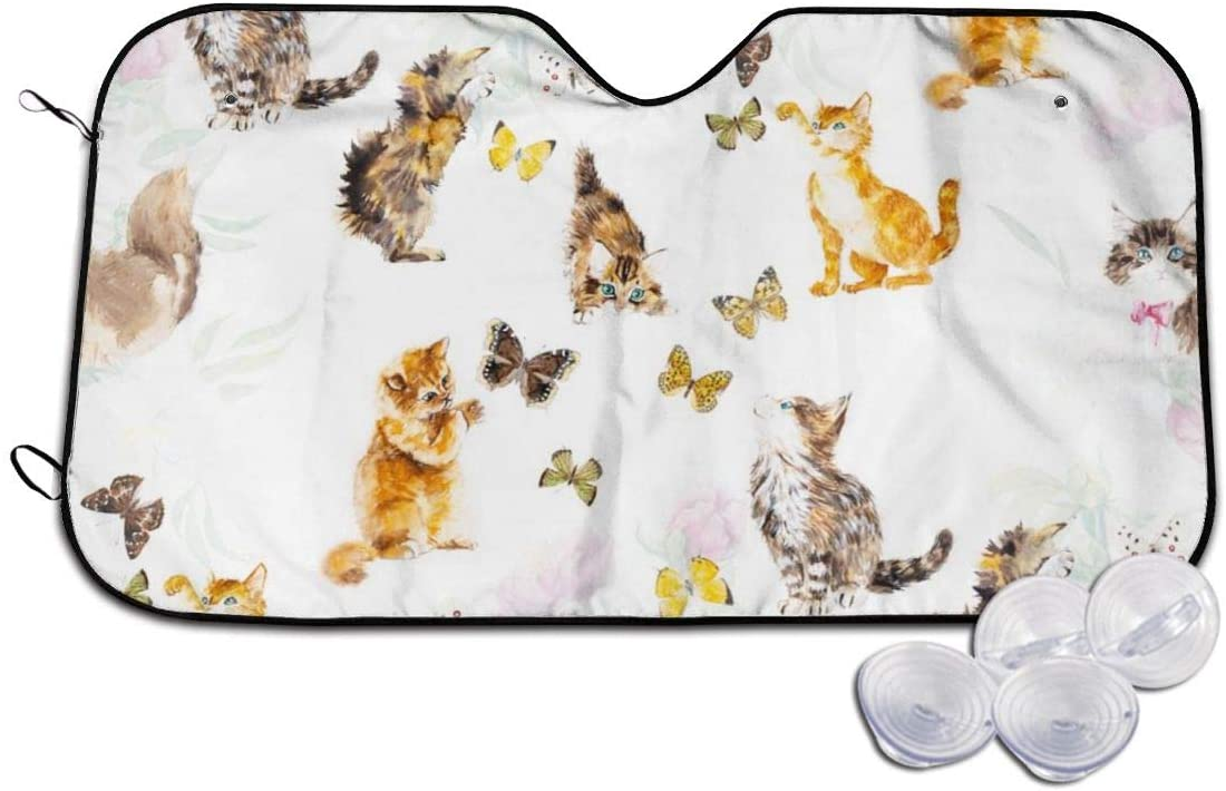 Windshield Sun Shade Cute Cat Kitten Butterfly Blocks Heat Keeps Your Vehicle Cool Visor Protector SUV Front Window Heat Insulation