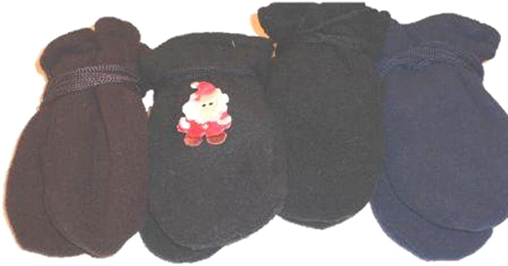 Four Pairs of Multicolor Finest Mongolian Fleece Mittens for Ages 3-12 Months