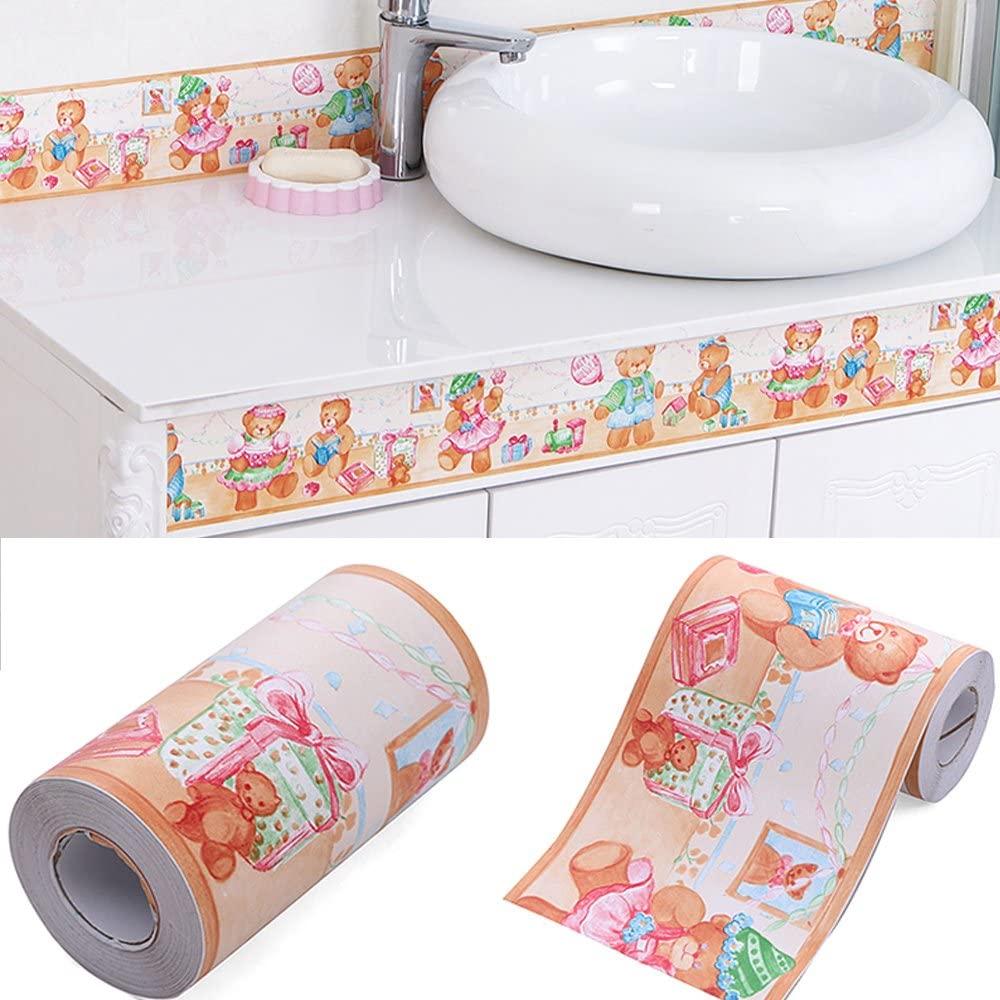 Yifely Cartoon Bear Vinyl Wallpaper Border Peel & Stick Wall Borders Sticker Kids Bedroom Decoration
