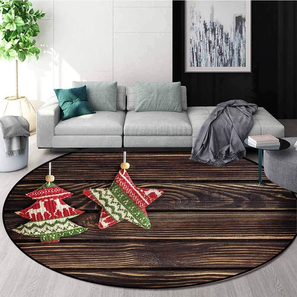 RUGSMAT Christmas Round Area Rug,Retro Pine Tree Xmas Floor Mat Home Decor Round-31