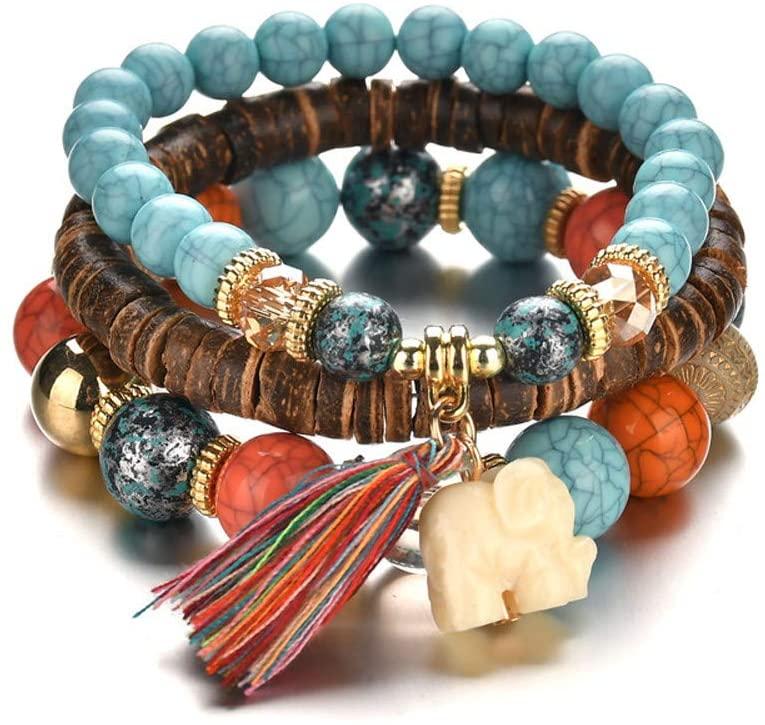 USVSU Jewelry Beads Women Men Crystal Charm Bracelets Multilayer Bangles Candy Color Bracelet Party Wedding for Men for Women