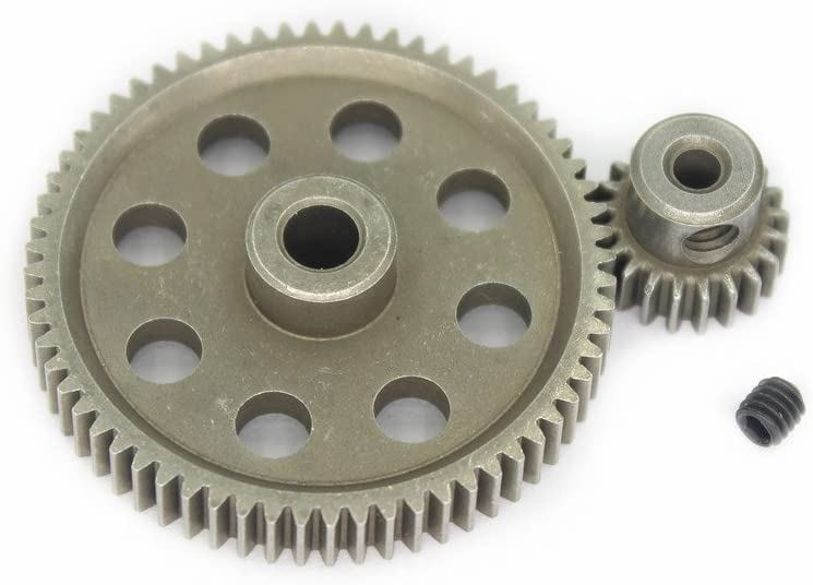 Hobbypark 11184 Steel Metal Spur Diff Differential Main Gear 64T & 11181 Motor Gear 21T RC Replacement Parts for Redcat Volcano EPX HSP 1/10 Monster Truck Brontosaurus 94111