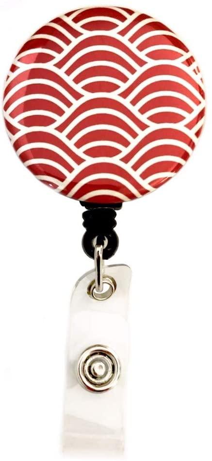 Japanese Scenery & Traditional Patterns Retractable Badge Reel ID Badge Holder (Seigaiha)
