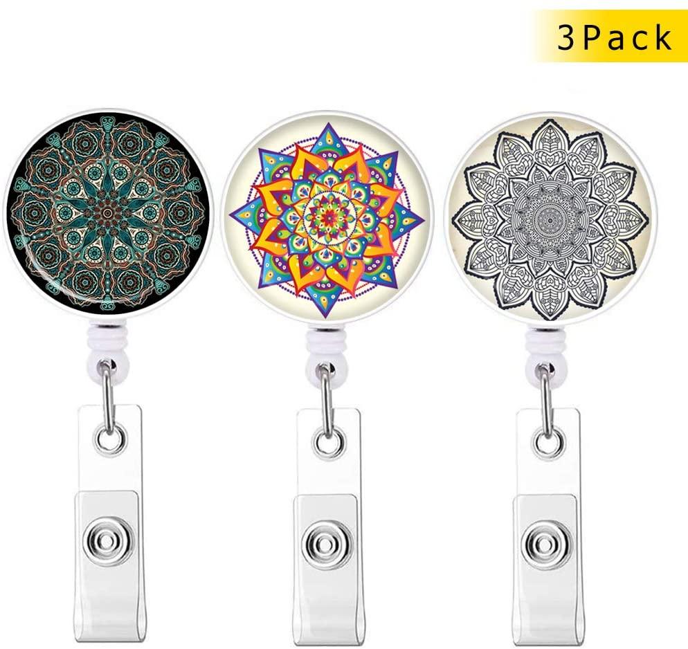 Mandala Series Badge Reel, Retractable ID Card Badge Holder with Alligator Clip, Name Nurse Decorative Badge Reel Clip on Card Holders 3 Pack