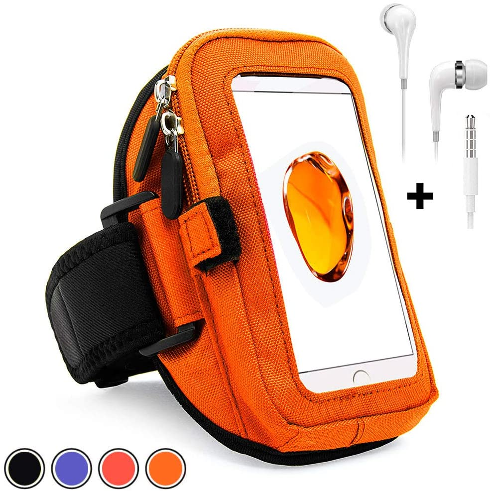 Large Cell Phone Armband for Galaxy S20 S10 Note 10 Note 9 Plus, with Earphones