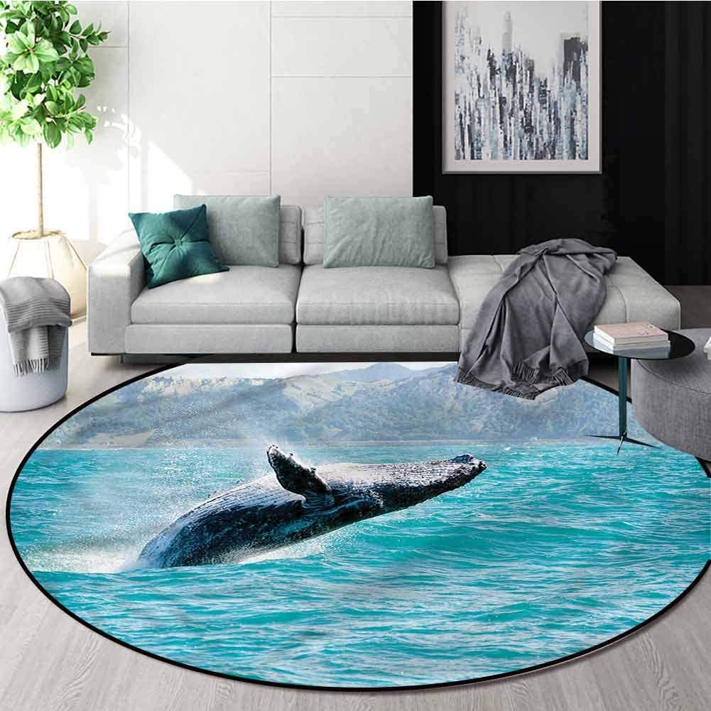 RUGSMAT Sea Animals Modern Machine Washable Round Bath Mat,Humpback Whale in Water Living Room Bedroom Study Soft Carpet Diameter-71