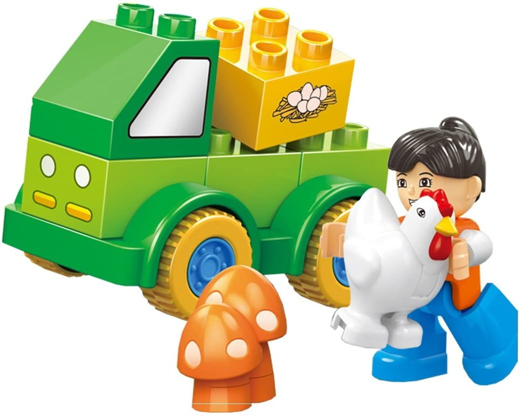 Fun Happy Fleet - 11 pcs Small Building Blocks Farm 4X4 Truck Set with Animals, Mushroom Plants, and Friendly Action Figure