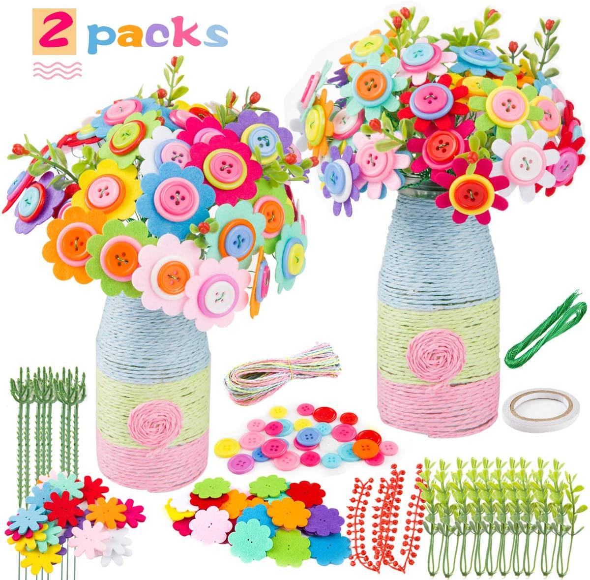 2 Pack DIY Button Flower Crafts Kit- 40pcs Sims Azalea Bouquet Button Gesang Flowers+ 40pcs Sunflower Button Felt Bouquets Kit with Gypsophila Paper Rope Iron Wire Bottles DIY Gift for Kids Children