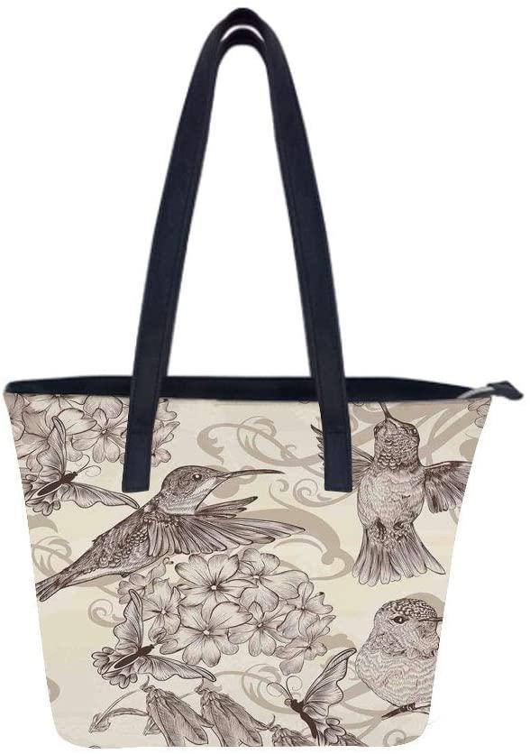 Hummingbirds Birds Classical Women Leather Laptop Tote Office Shoulder Handbag Computer Briefcase