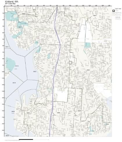 ZIP Code Wall Map of Kirkland, WA ZIP Code Map Laminated