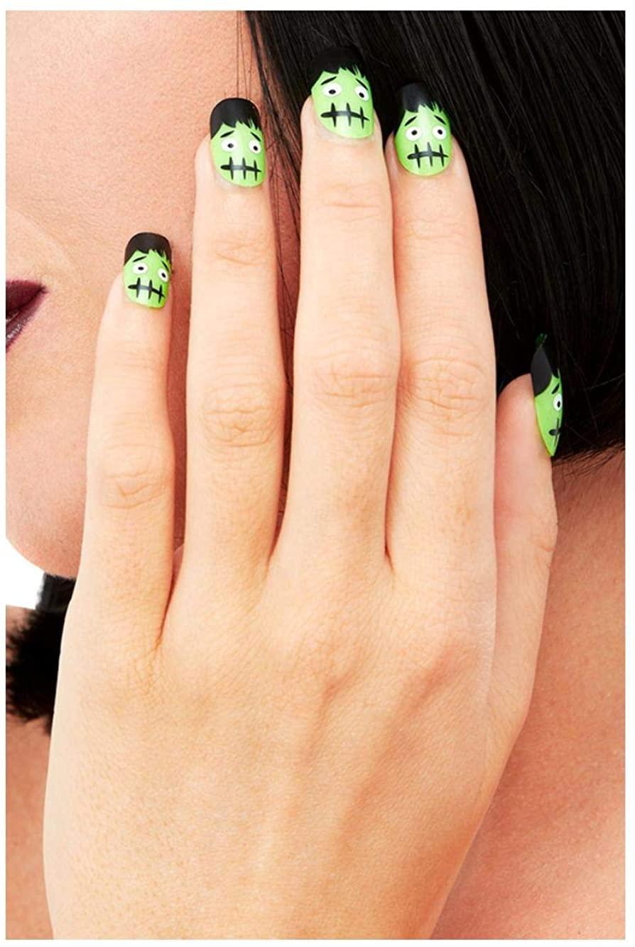Smiffys 52043 Make-Up FX, Frankenstein Nails, Women, Green