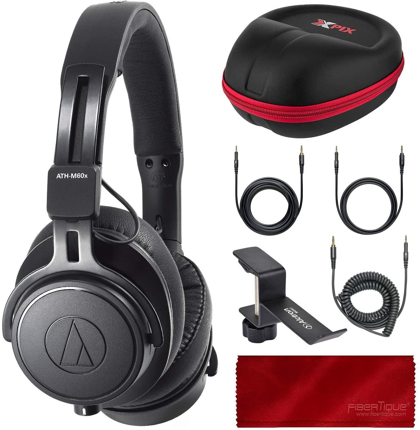 Audio-Technica ATH-M60X On-Ear Closed-Back Dynamic Professional Studio Monitor Headphones, Black with Xpix HardBody Headphone Case and Accessory Bundle