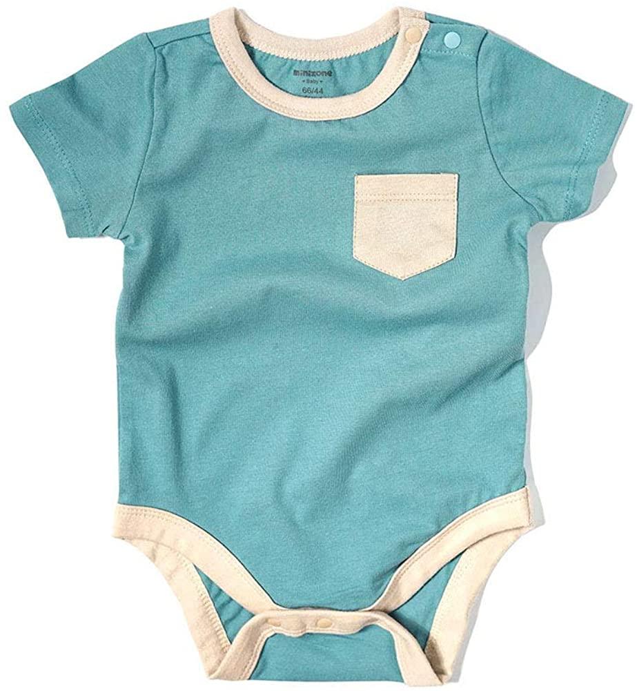 Baby Bodysuit Short Sleeve Cotton Contrast Color Top Shirt 3-24 Months