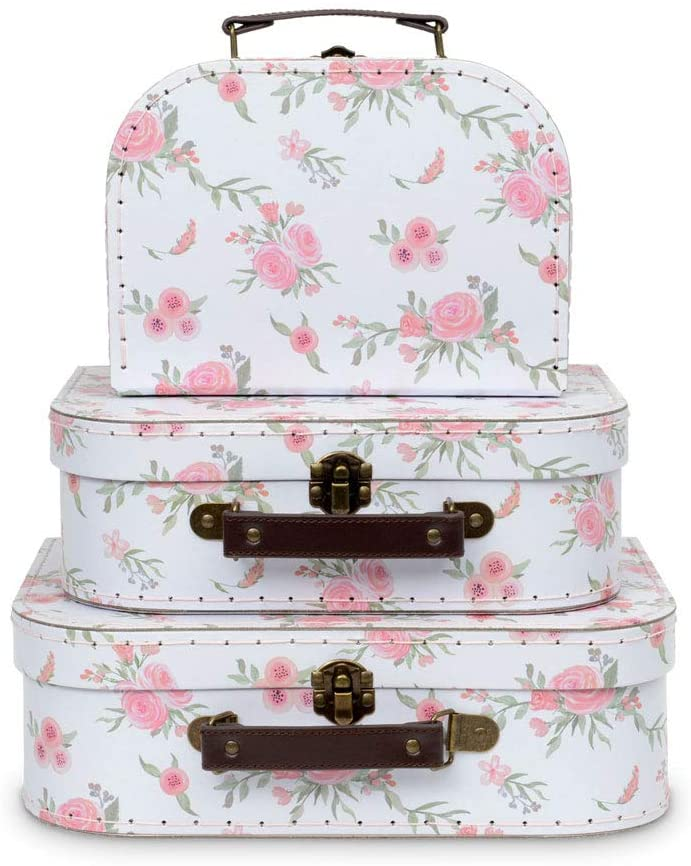 Jewelkeeper Paperboard Suitcases, Set of 3 – Nesting Storage Gift Boxes for Birthday Wedding Nursery Office Decoration Displays Toys Photos – Romantic Floral Design