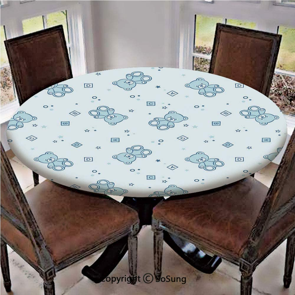 Elastic Edged Polyester Fitted Table Cover,Teddy Bears and Toys with Letters on Children Imagery Baby Blue Background,Fits up 40