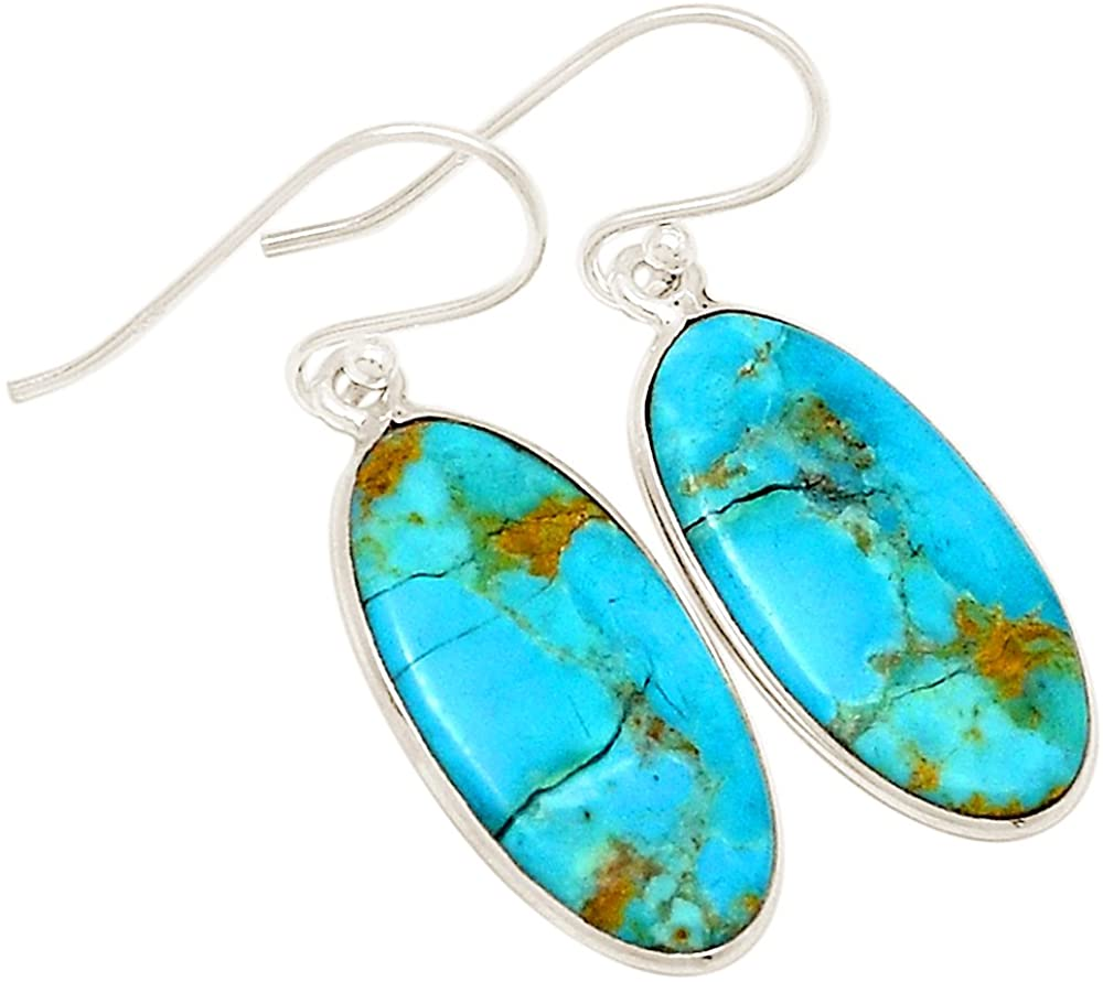 Xtremegems Stablized Blue Turquoise 925 Sterling Silver Earrings 1 1/2