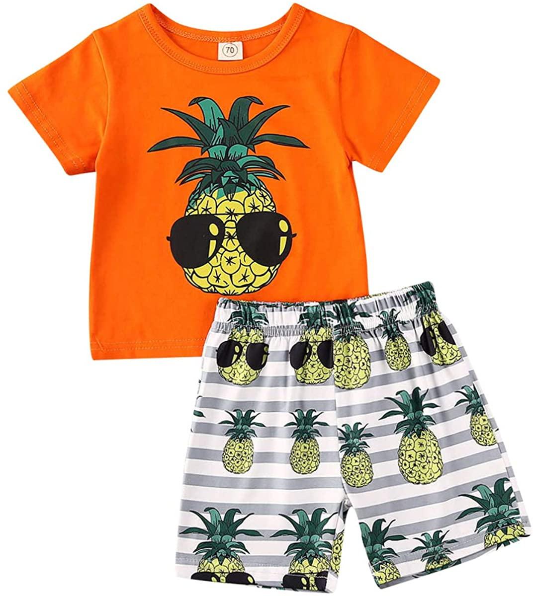 2Pcs Toddler Baby Boys Summer Clothing Sets Cute Animal Print Sleeveless Tank Tops T-Shirt+Palm Shorts Outfits
