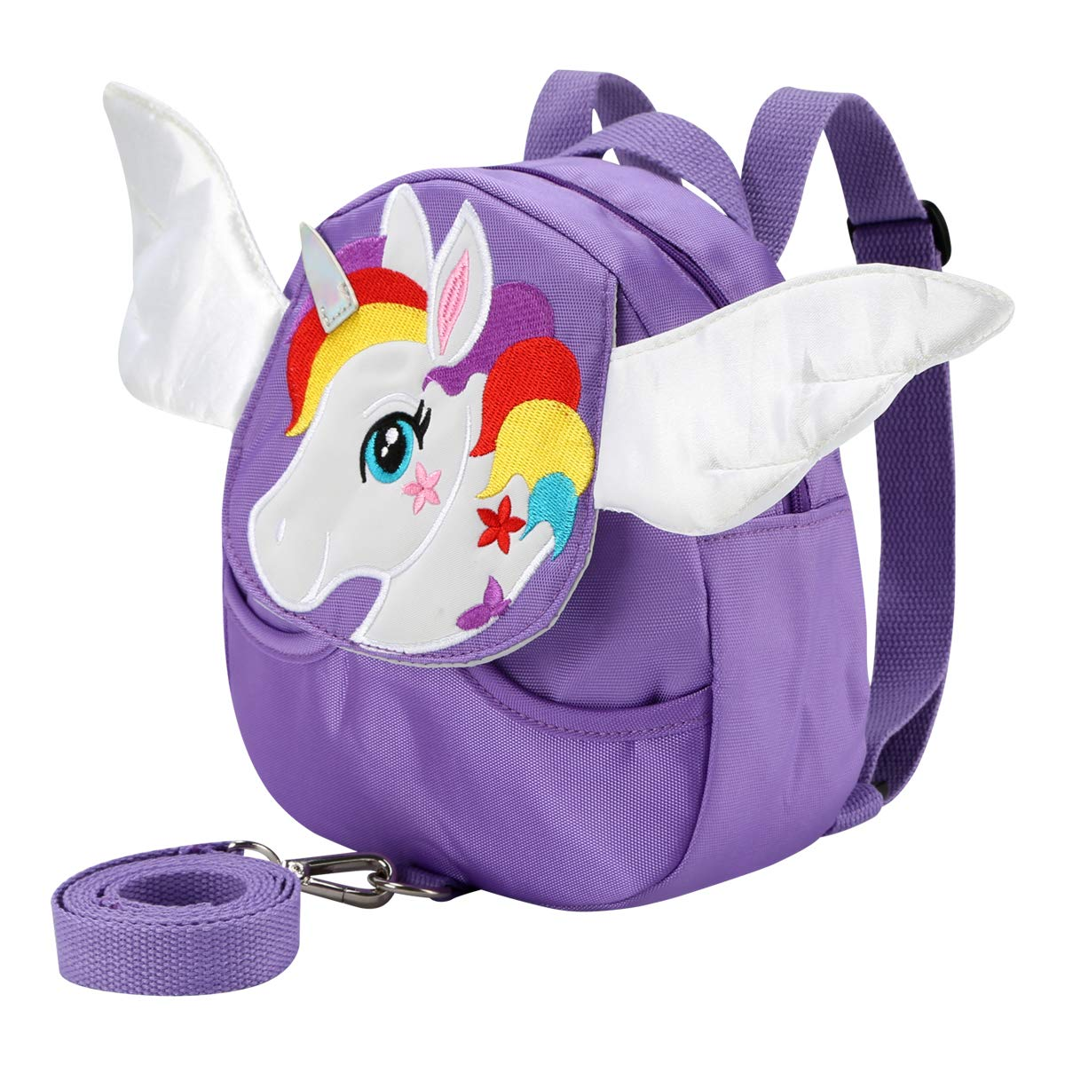 Toddler Walking Backpack with Anti-Lost Harness Child Strap Bag Safety Leash for Kid Boys and Girls (Horse Purple)