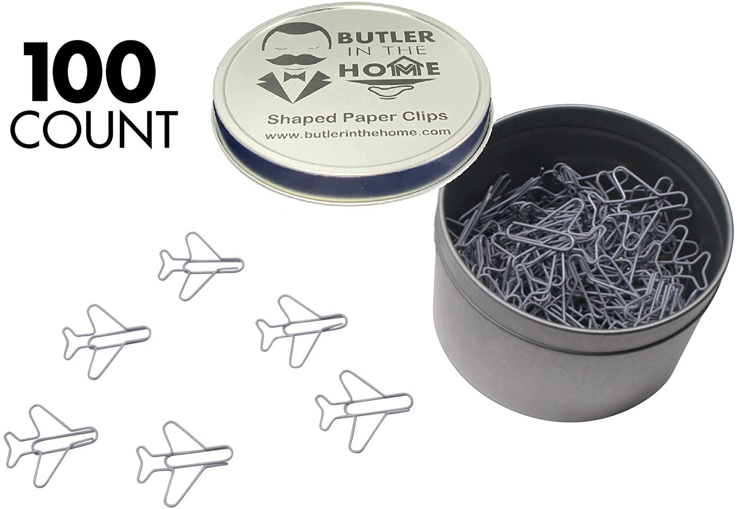 Butler in the Home 100 Count Airplane Shaped Paper Clips Great for Paper Clip Collectors or Office Gift - Comes in Round Tin with Lid and Gift Box - (Gray)