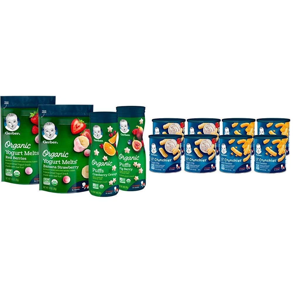Gerber Up Age Snacks Variety Pack - Organic Yogurt Melts & Organic Puffs, 7Count & Lil Crunchies, Mild Cheddar & Veggie Dip, 8 Count
