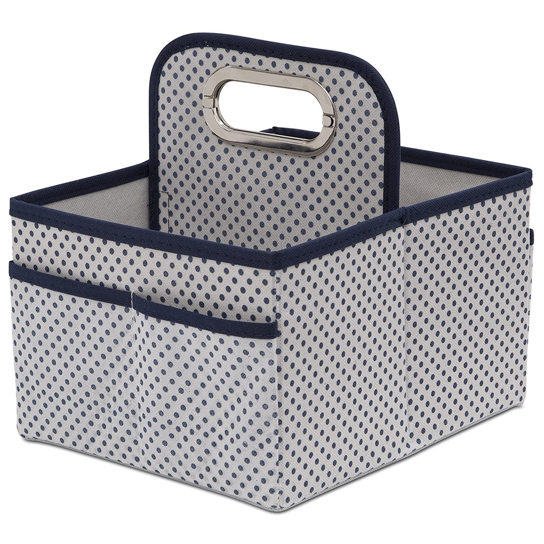 Delta Children Portable Nursery Caddy - Essential Lightweight Storage Bin with Multiple Compartments - Easy Storage/Organization Solution, Navy