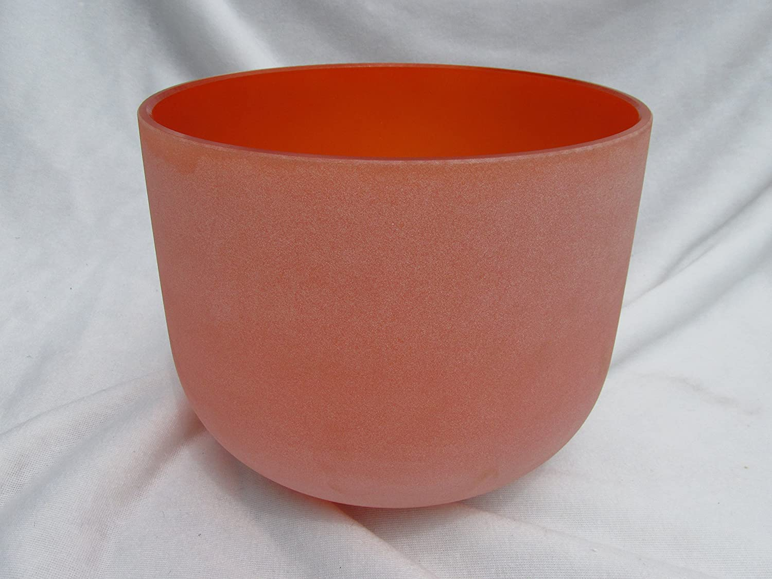 Orange Color D# Note Duality Chakra 10 inch Classic Frosted Quartz Crystal Singing Bowl