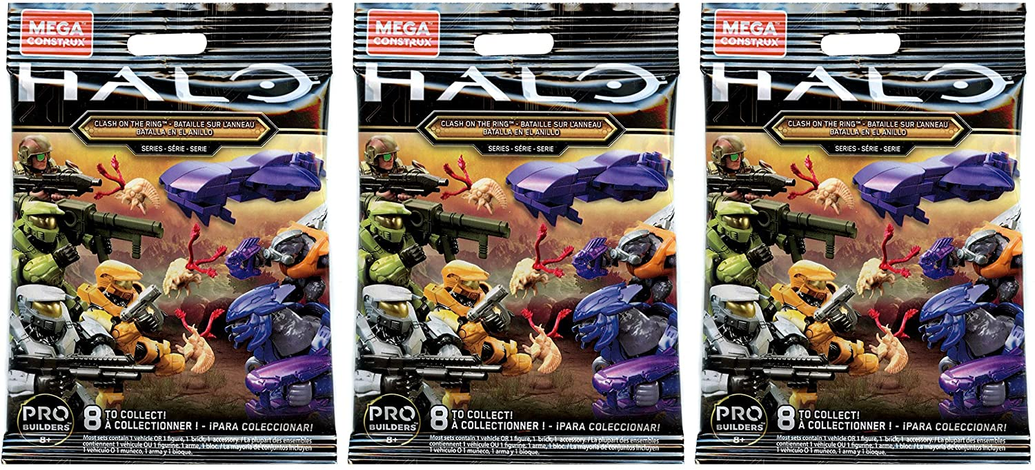 Halo Mega Construx Clash on The Ring Mystery Micro Action Figures Series Blind Bag (Bundle of 3)