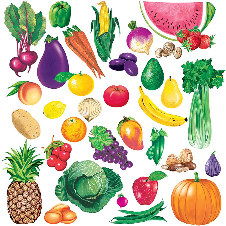 Little Folk Visuals Fruits and Vegetables Combo Precut Flannel/Felt Board Figures, 34 Pieces Set