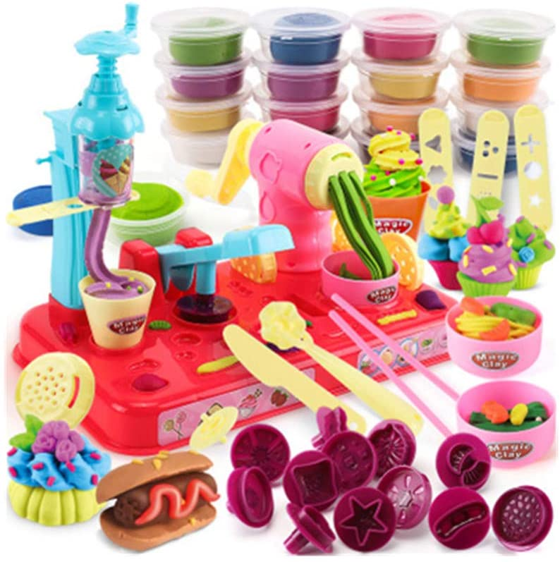 Kitchen Toys Ice Cream and Noodle Maker with Multi-Colour Clay Pretend Cooking Playset for Children
