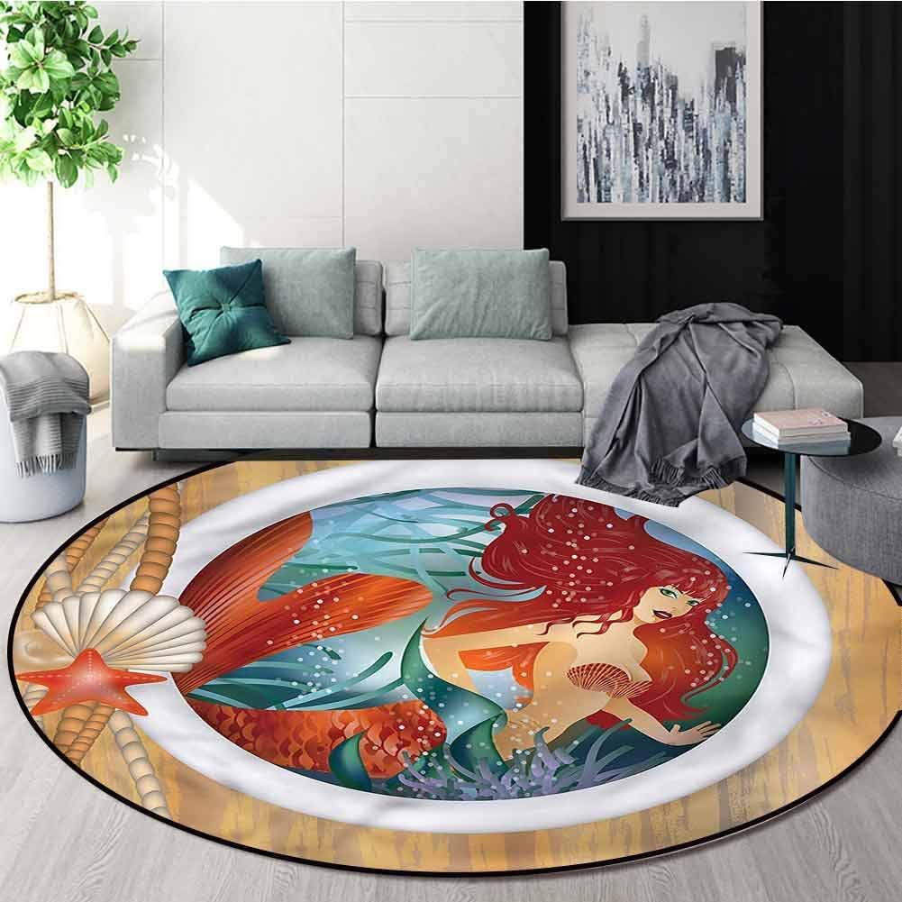RUGSMAT Underwater Round Area Rug,Mermaid Porthole Window Perfect for Any Room, Floor Carpet Diameter-71