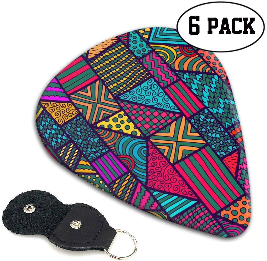 Chion 351 Shape Classic Celluloid Native American Inspired Retro Aztec Pattern Guitar Picks 6 Pack