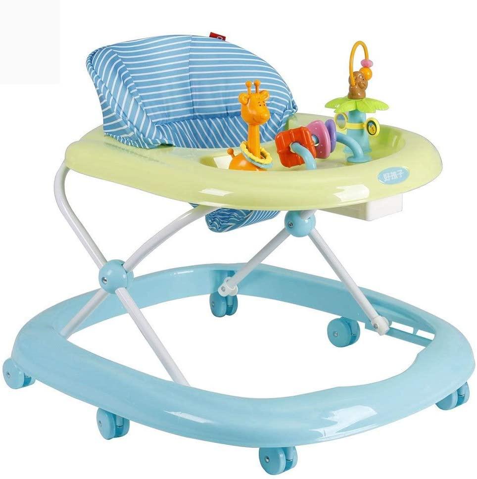 Moolo Baby Walker,6 Wheels Multi-Function Child Anti-Rollover One-Touch Folding Baby Walker Girls Boys Maximum Load 14 kg (Color : Blue)
