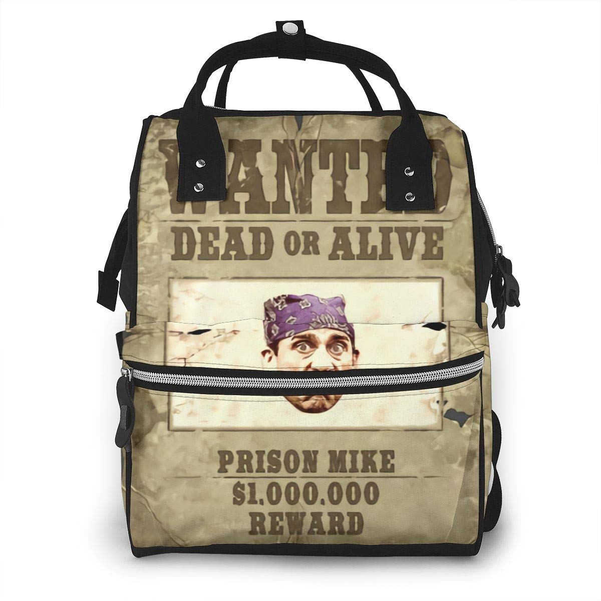 Wanted (Prison Mike) Michael Scott Durable Large Capacity Diaper Bag Mommy Backpack