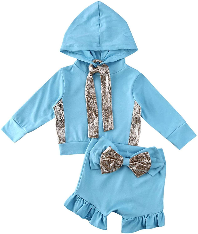 2PCS Baby Shorts Outfit Kid Girl Hooded Sweatshirt Tops Ruffle Shorts Pants Hoodie Tops T-Shirt+Ruffle Shorts Pants